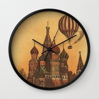 moscow Wall Clocks featuring Moving to Moscow by Terry Fan