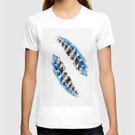 Two  blue feathers T-shirt