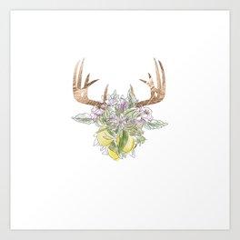Horns Bohemian Deer #3 Art Print