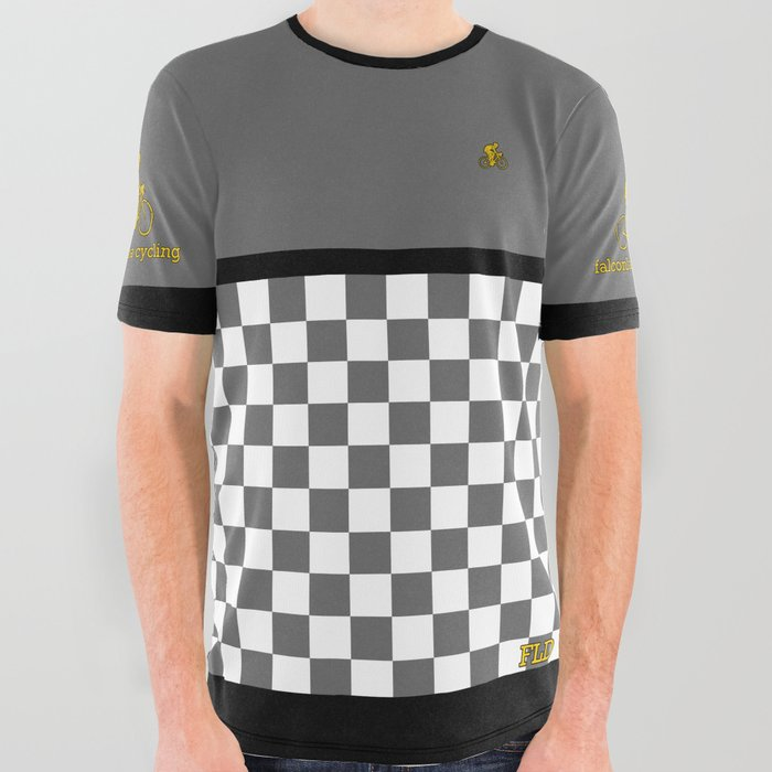 FLD Cycling Gray Checkered All Over Graphic Tee