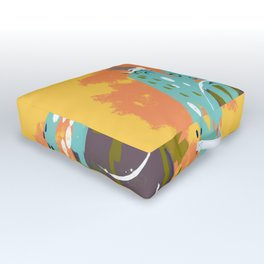 South of the Border, Abstract Gold Orange Mint Outdoor Floor Cushion