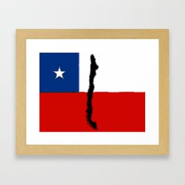 Chilean Flag with Map of Chile Framed Art Print