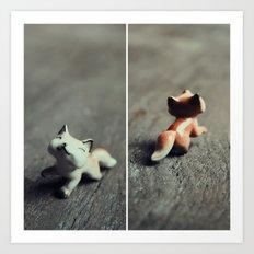 Heads & Tails (Fox) Art Print