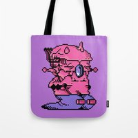 video game Tote Bags featuring Double Slug - Video Game Project by Studio Momo╰༼ ಠ益ಠ ༽