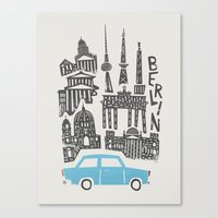 Canvas Prints featuring Berlin Cityscape by Fox And Velvet