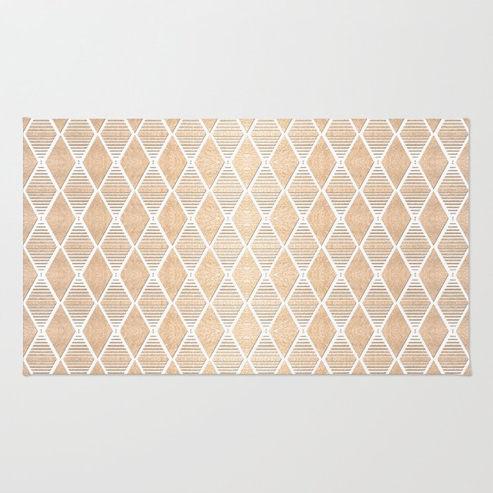 White and Copper Geometric Pattern Rug