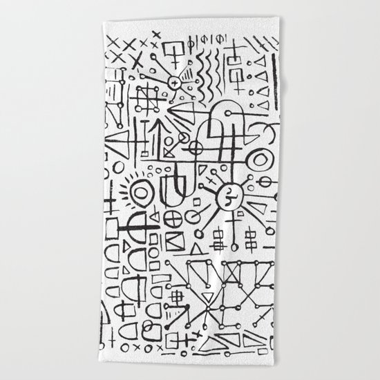 ALIEN WRITING Beach Towel
