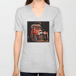 Vintage Red Car Unisex V-Neck
