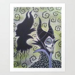 Maleficent Sugar Skull Art Print
