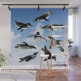 Flying Penguins Wall Mural