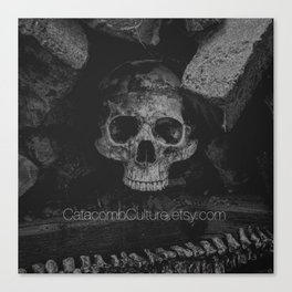 Catacomb Culture - Black and White Human Skull Canvas Print