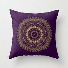 Harmony Circle of Gold on Purple Throw Pillow