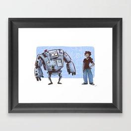 A Girl and her Robot Framed Art Print