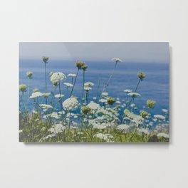 Flowers by the Beautiful Blue Sea Metal Print