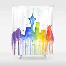 Seattle Skyline Rainbow Watercolor Shower Curtain