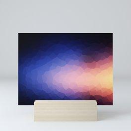 Low-Poly Dark Blue and Yellow Design Mini Art Print