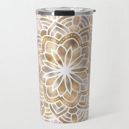 Mandala Multi Metallic in Gold Silver Bronze Copper Travel Mug