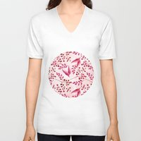 botanical V-neck T-shirts featuring Botanical Watercolor by LebensART