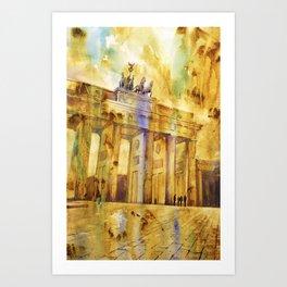 Brandenburg Gate at sunset in the city of Berlin- Germany, Euro Art Print