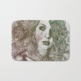 Wake: Autumn (street art woman with maple leaves tattoo) Bath Mat
