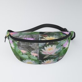 collage of asian lotus flowers, water lilies, elegant, beautiful Fanny Pack