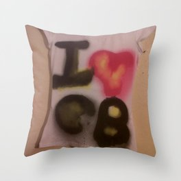 I Love C-B Spray Paint Logo Art Print. Throw Pillow