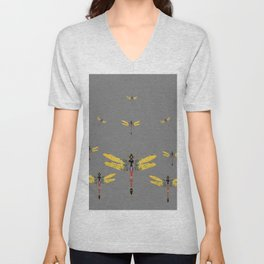 GOLDEN-RED DRAGONFLIES ON GREY Unisex V-Neck
