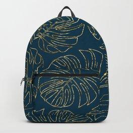 Metallic Monstera Leaves Backpack
