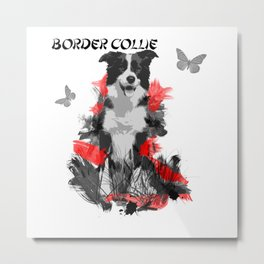 Border Collie Chinese Painting Style Metal Print