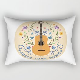 Peace Love And Music Folk Guitar Badge Rectangular Pillow