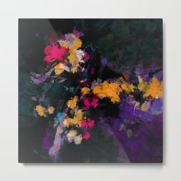 Purple and Yellow Abstract / Surrealist Painting Metal Print