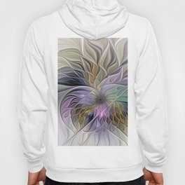 Abstract Flower, Colorful Floral Fractal Art Hoody
