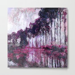 Monet Poplars on the Banks of the River Epte Purple Magenta Metal Print