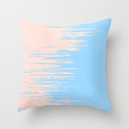 Carefree - Sweet Peach Coral Pink on Blue Raspberry Throw Pillow