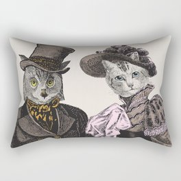 The Owl and the Pussycat | Anthropomorphic Owl and Cat | Rectangular Pillow
