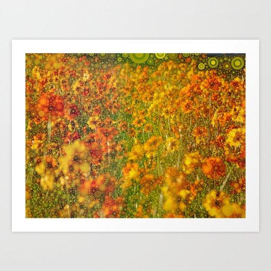 Perky Cosmos Abstract Botanical Art Print