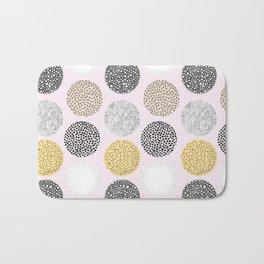 Yellow, White, Gray, Pink and Black Circle Print Bath Mat