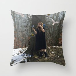 Birds born in cages believe that flying is a disease Throw Pillow