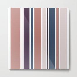 Coffee & Cotton / Stripes Sand, Brown, Blue Metal Print