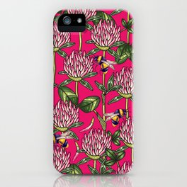 Red clover pattern iPhone Case