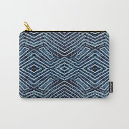 Blue African Dye Resist Fabric Adire Boho Chic Carry-All Pouch