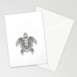 Save the Turtles Gift. Keep the Sea Plastic Free Design print Stationery Cards