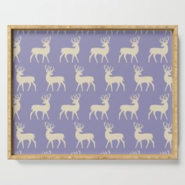 Mid Century Modern Deer Pattern Lavender and Tan Serving Tray