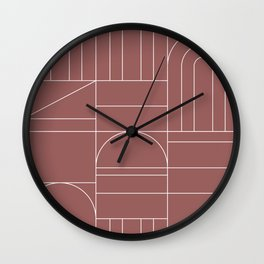 Deco Geometric 04 Dark Pink Wall Clock