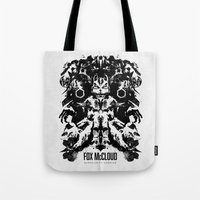 starfox Tote Bags featuring Fox McCloud Star Fox Inspired Geek Psychological Inkblot by Barrett Biggers