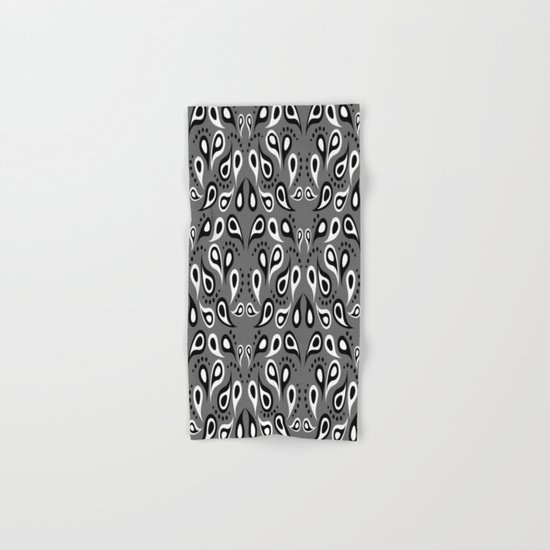 Black White And Grey Paisley Hand & Bath Towel