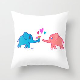 elephants in love Throw Pillow