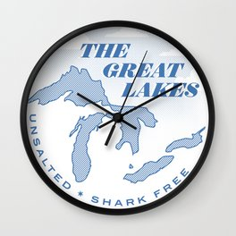 The Great Lakes - Unsalted & Shark Free Wall Clock