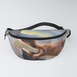Lonely Redhead in Despair at the Beethoven Piano portrait painting by L. Balestrieri Fanny Pack