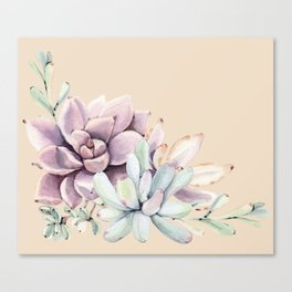 Trendy Apricot + Mint Succulents Canvas Print